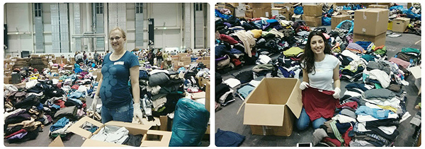 Folding donated clothes at Messehallen